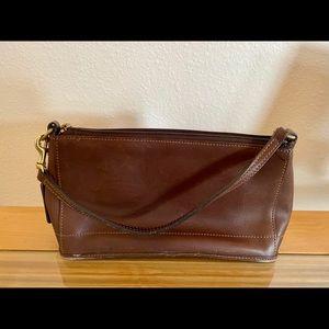 Brown leather Coach mini-purse